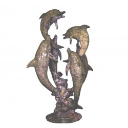 Bronze Six Dolphins Fountain Sculpture