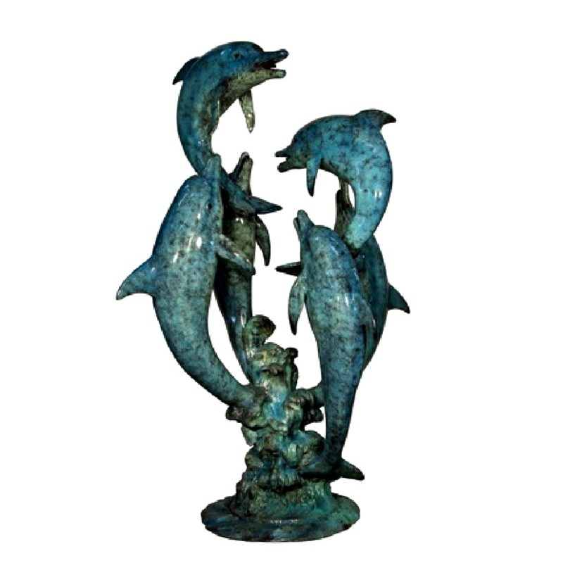 Bronze Six Dolphins Fountain Sculpture - SP