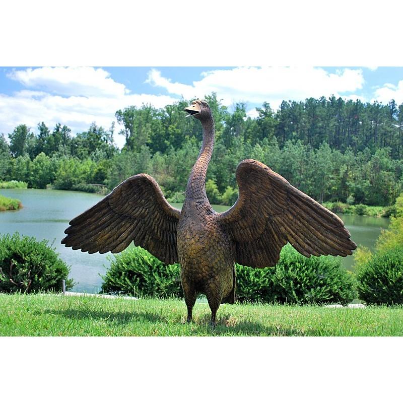 Bronze Standing Swan Fountain Sculpture