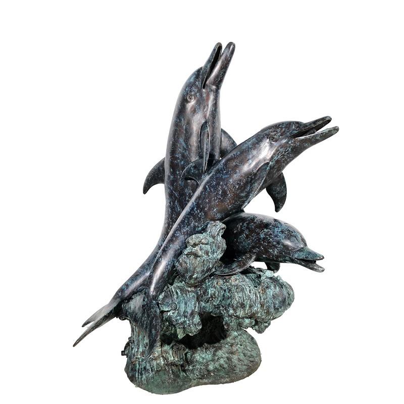 Bronze Three Dolphin Fountain Sculpture