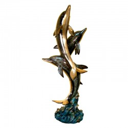 Bronze Three Dolphin Fountain Sculpture - SP