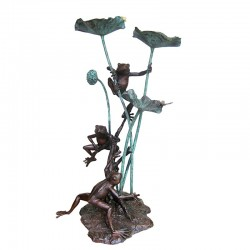 Bronze Three Frogs with Dragonfly Fountain Sculpture