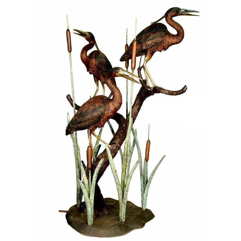 Bronze Three Herons in Grass Fountain Sculpture