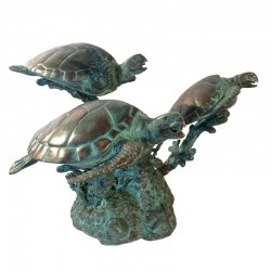 Bronze Three Sea Turtles...