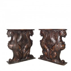 Bronze Lion Dining Table Base Sculpture Set