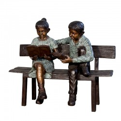 Bronze Boy & Girl Reading...