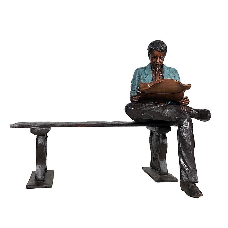 Bronze Man reading Newspaper on Bench Sculpture