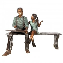 Bronze Child and Grandfather Drawing Sculpture