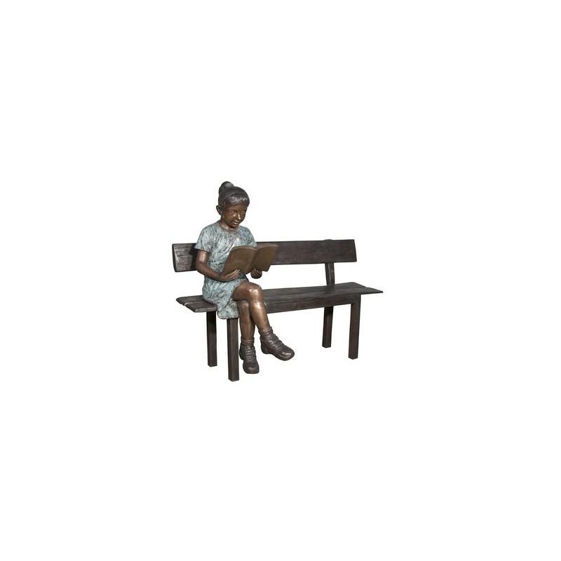 Bronze Girl Reading Book on Bench Sculpture