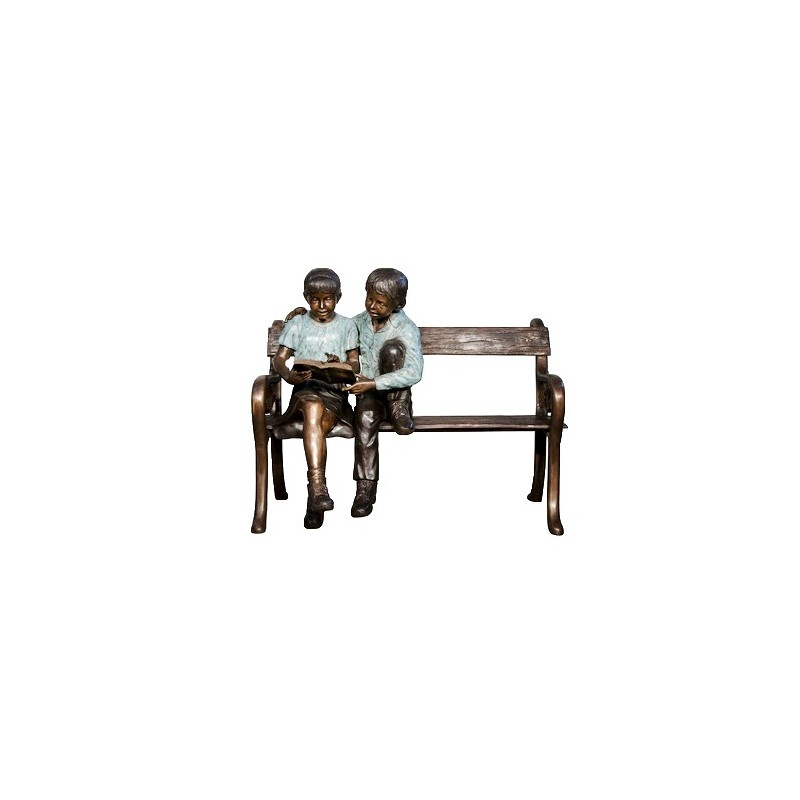 Bronze Children Reading on Bench Sculpture - A