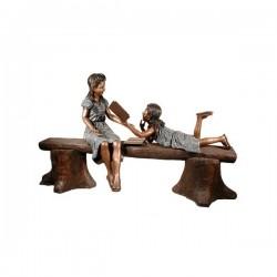 Bronze Girls Reading on Tree Stump Bench Sculpture