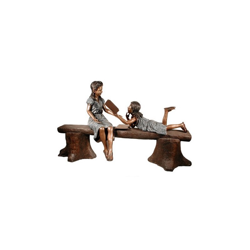 Bronze Girls Reading on Tree Stump Bench Sculpture