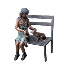 Bronze Girl & Cat on Bench...
