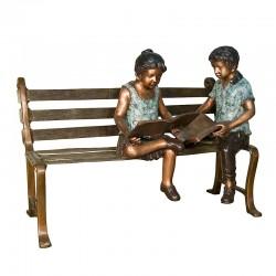 Bronze Boy & Girl Reading Books on Bench Sculpture
