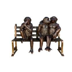 Bronze Monkeys on Bench Sculpture