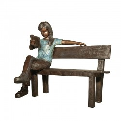 Bronze Girl Reading Book on Bench Sculpture