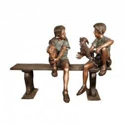 Bronze Boy & Girl with Dog on Bench Sculpture