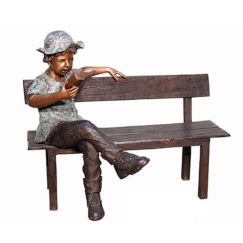 Bronze Boy Reading Book on Bench Sculpture