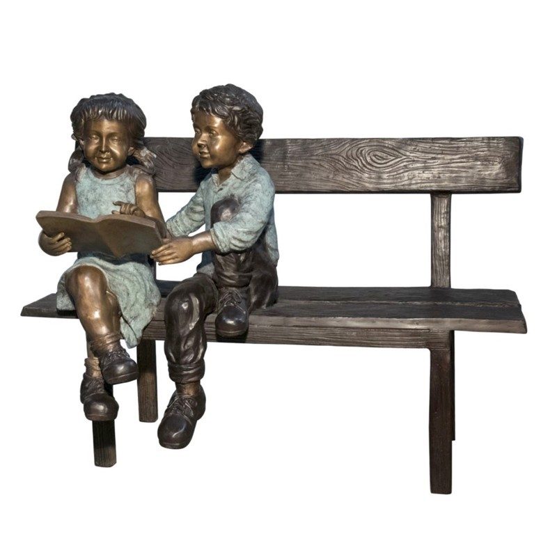 Bronze Two Kids Reading on Bench Sculpture