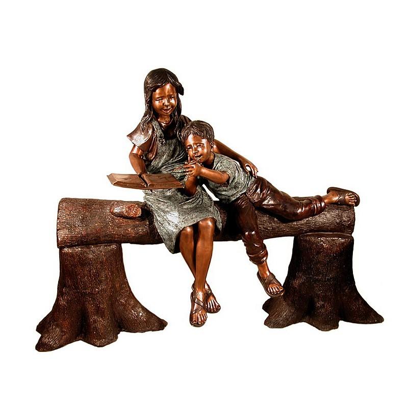 Bronze Children Reading Tree Bench Sculpture
