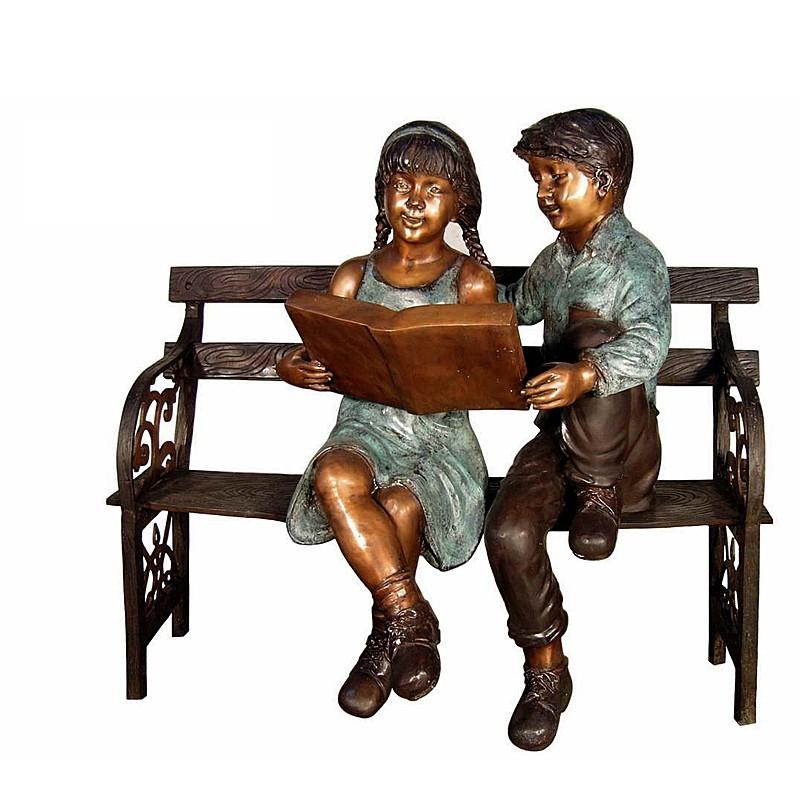 Bronze Children Reading on Bench Sculpture
