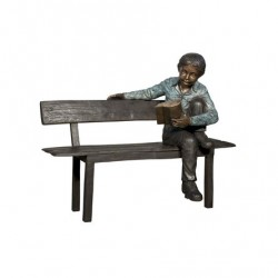 Bronze Boy Reading on Bench Sculpture