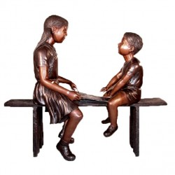 Bronze Children Reading on Bench Sculpture