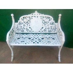 Iron Bench with Floral and...