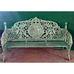 Iron Bench with Floral and Bird Design