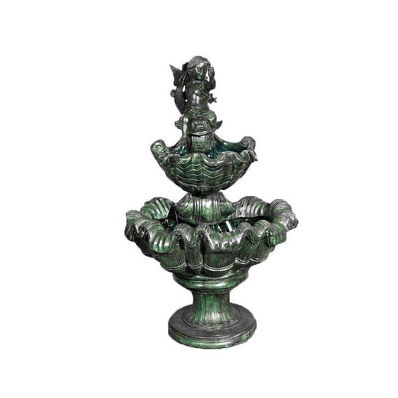 Bronze Boy and Fish Shell Tier Fountain