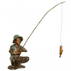Bronze Boy Fishing Sculpture