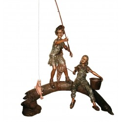 Bronze Boy & Girl Fishing on Log Sculpture