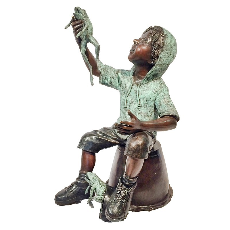 Bronze Boy on Bucket with Frog Sculpture