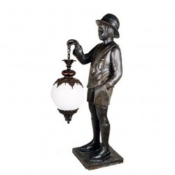Bronze Boy holding Lantern Sculpture