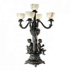 Bronze Boys Candelabra Lamp Sculpture
