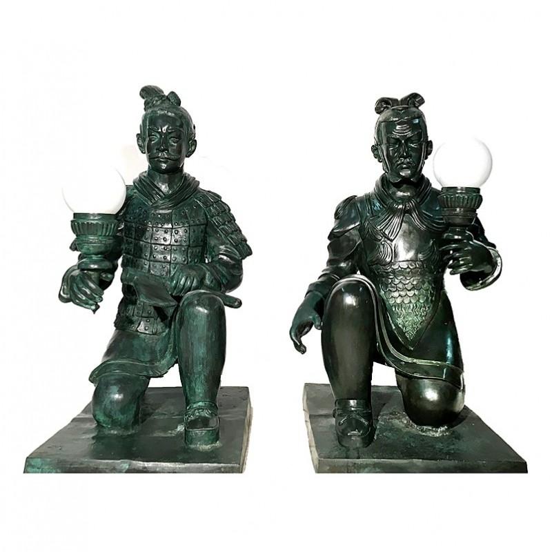 Bronze Chinese Warrior Torchere Sculpture Set