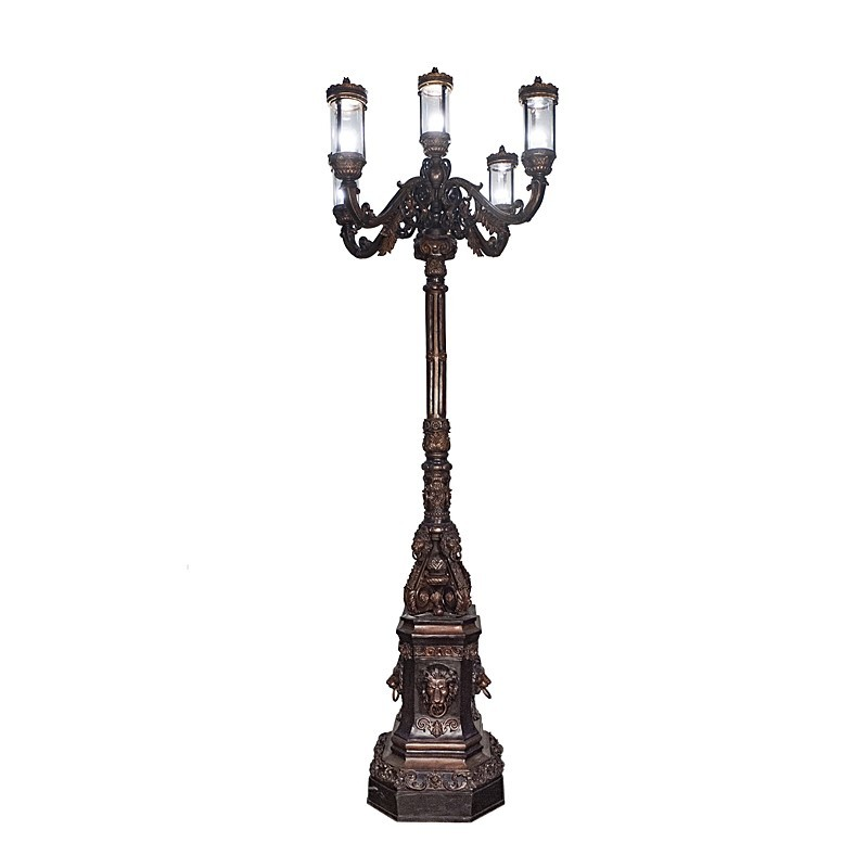 Bronze Five Light Lion Lamp Post