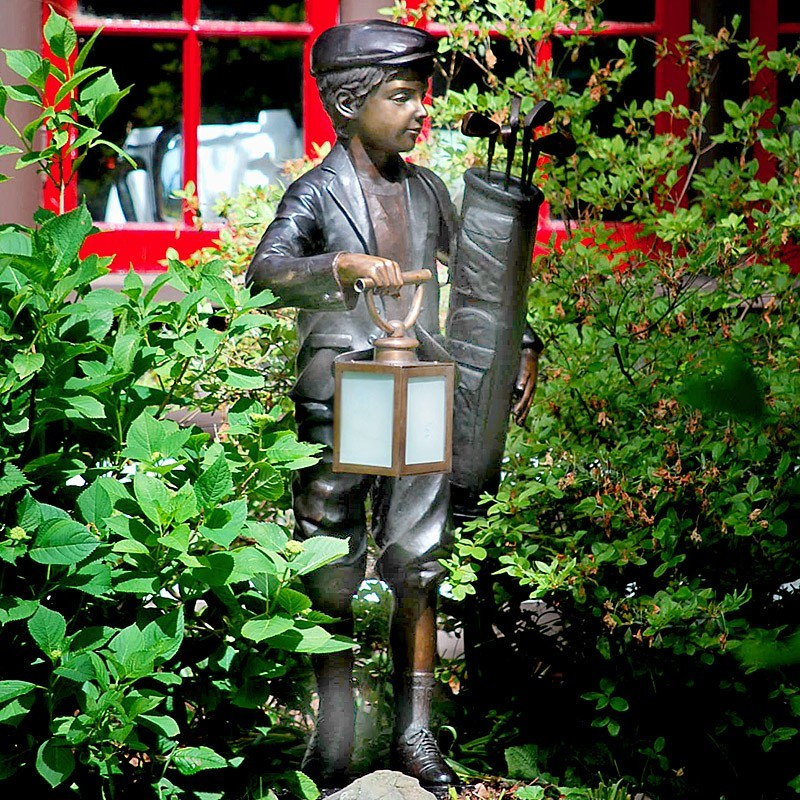Bronze Golf Caddie Lantern Sculpture - Outside