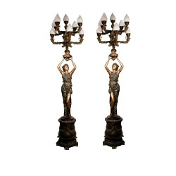 Bronze Lady Candelabra on Pedestal Sculpture