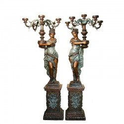 Bronze Lady holding Candelabra Sculpture