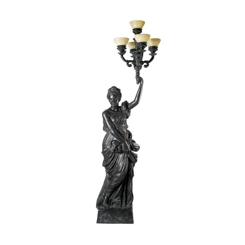Bronze Lady holding Candelabra Sculpture - Left