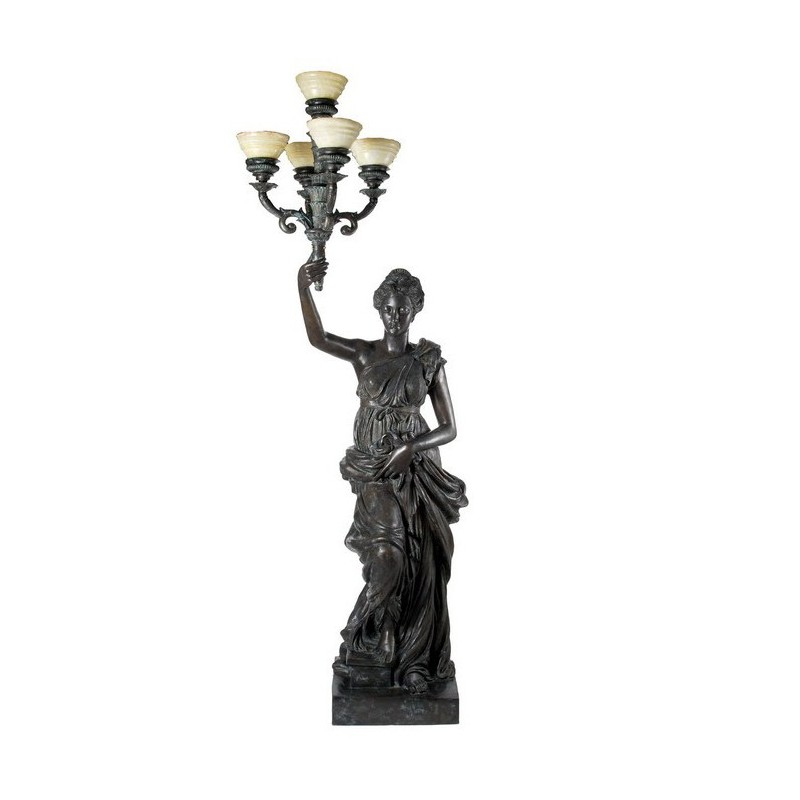 Bronze Lady holding Candelabra Sculpture - Right