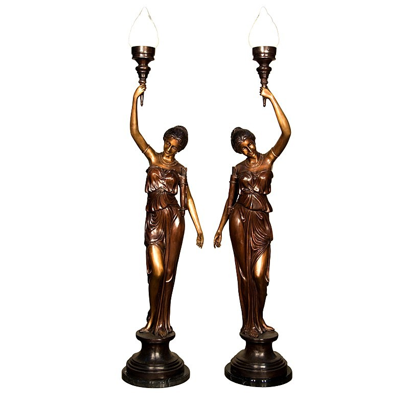 Bronze Lady Torchiere on Column Sculpture Pair