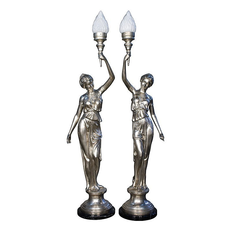 Bronze Lady Torchiere on Column Sculpture Pair - Silver Finish