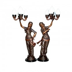 Bronze Lady Candelabra Sculpture Pair