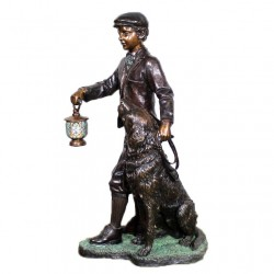 Bronze Man and Dog with Lighted Lantern Sculpture