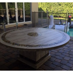 River Mosaic Table Top - Shown with Optional Matching Table Base