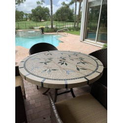 Bamboo Mosaic Table Top with Optional Umbrella Hole - Outside Setting