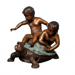 Bronze Children on Turtle Sculpture