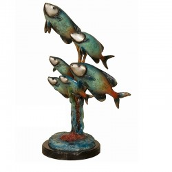 Bronze Colorful Trout Sculpture on Marble Base